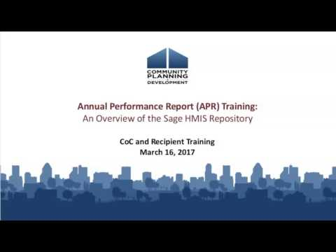 APR Training: Overview of the Sage HMIS Repository Webinar - 3/16/17