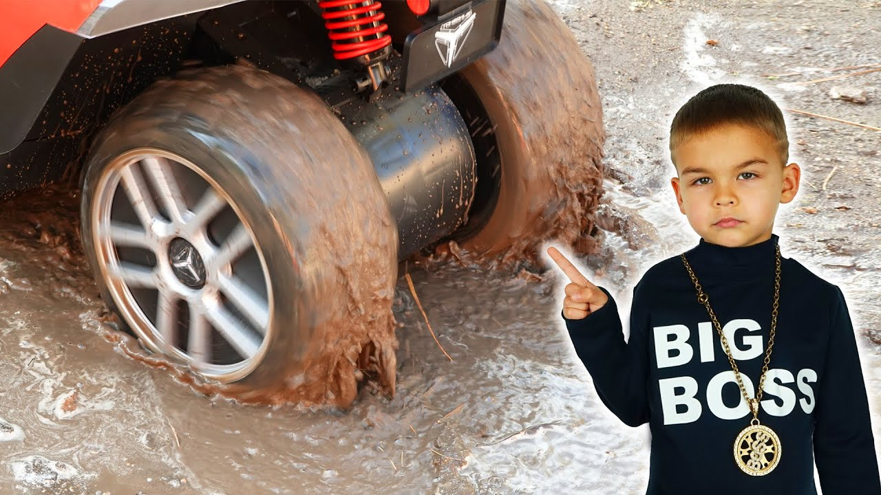 Big Boss power wheels car stuck in the mud funny stories
