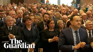 Lyra McKee: priest receives standing ovation after calling out politicians