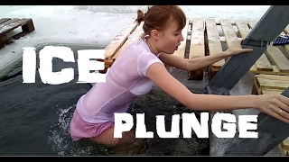 Russian Girl Dunks In Frozen Lake!
