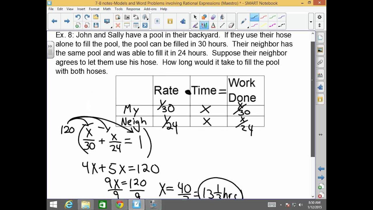 algebra i and ii 7 8 models and word problems involving rational