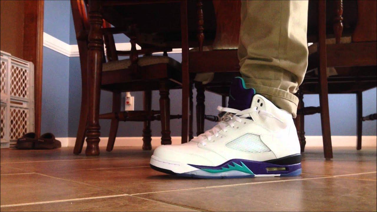 """2013 Air Jordan 5 """"Grape"""" On-Foot - YouTubeJordan Grape 5 Black On Feet"""