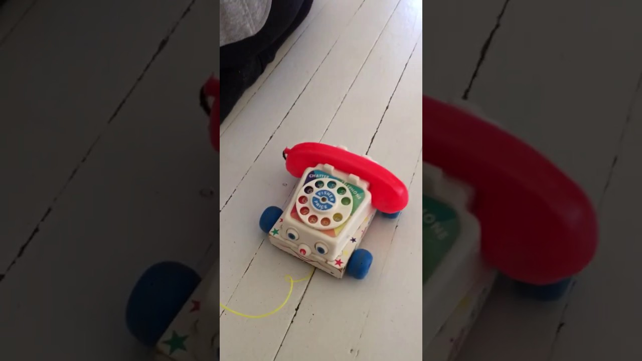 vintage fisher price chatter telephone rotary wood body pull toy 1960 s [ 1280 x 720 Pixel ]