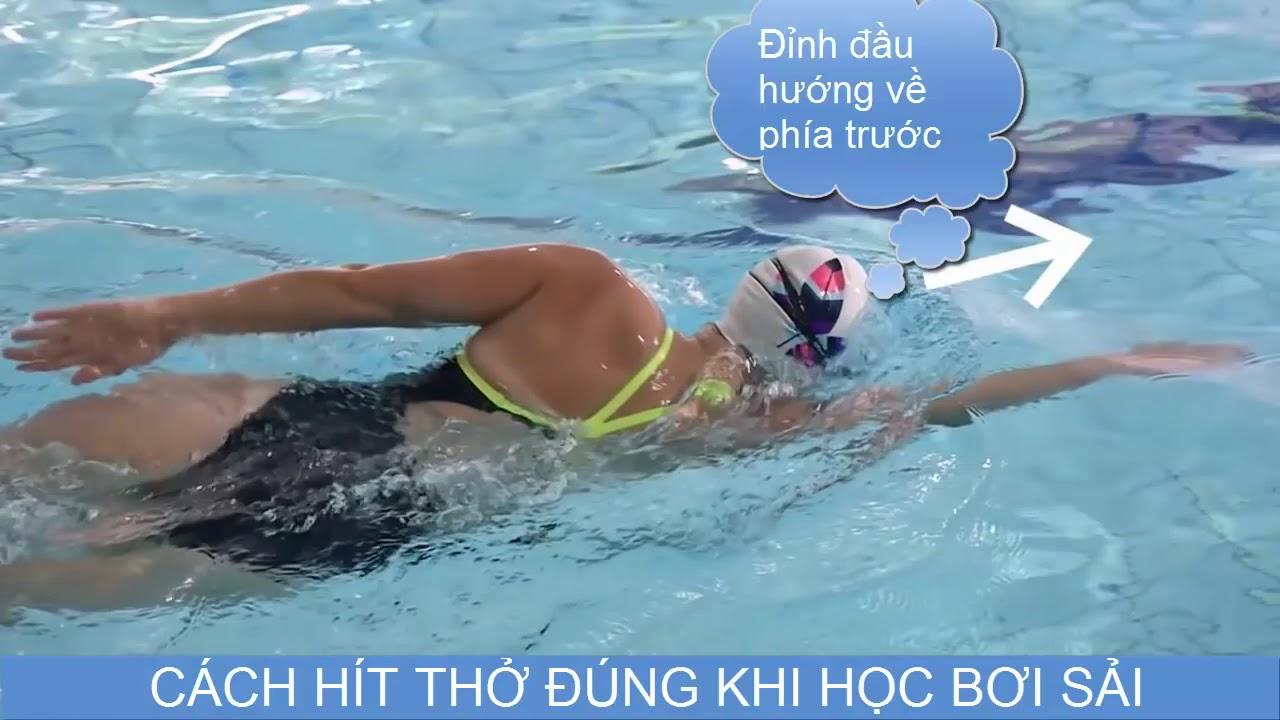 Cách hít thở đúng khi học bơi sải bơi trườn sấp