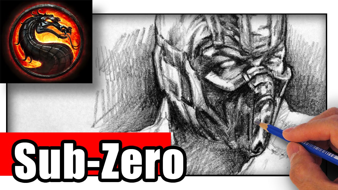 How To Draw Sub Zero From Mortal Kombat With Pencil Youtube