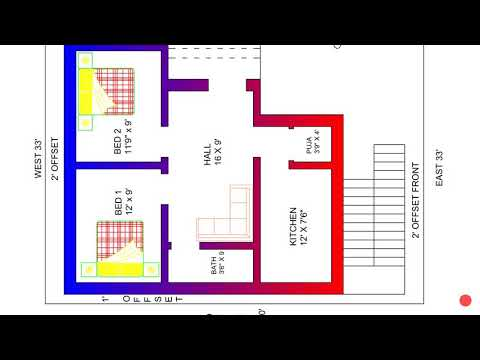 27 × 30 east face 2bhk house plan built up area - YouTube