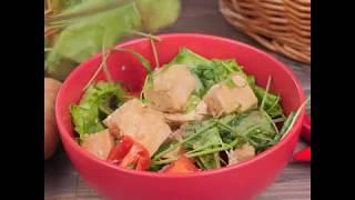 Салат с сыром тофу и овощами