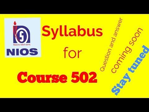 nios syllabus Nios deled course 502 - syllabus notes study materials assignment questions with answers question papers nios deled 1st semester 502 course.