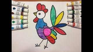 Мультик раскраска петушок для детей|Как нарисовать петушка|Учим цвета|Рисовалка TV