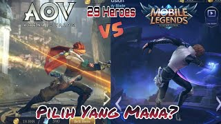 ARENA OF VALOR vs MOBILE LEGENDS || 29 HERO Side by side_INSPIRASI atau PLAGIAT?