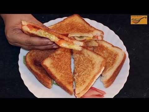 Tomato Cucumber Sandwich Recipe / Cheese Tomato Sandwich / Cheese Salad Sandwich