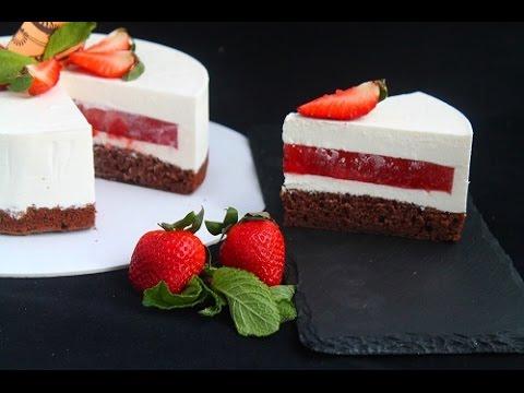 Творожный торт с клубникой (рецепт под видео)