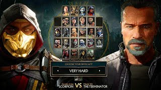 Mortal Kombat 11 Terminator T-800 Vs Scorpion Gameplay Very Hard Difficulty MK11