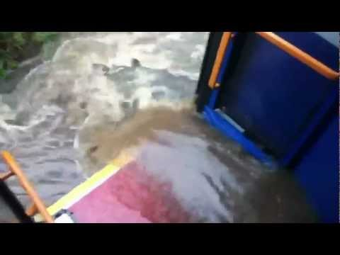380 Bus Drives Through a Flood and Gets Flooded