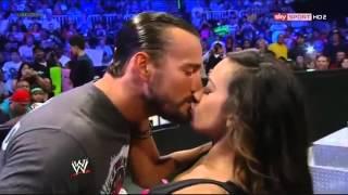 AJ Kisses CM Punk   Daniel Bryan on SmackDown 2012 07 03 Version 2 Different Camera Angle)