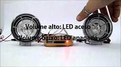 Alarme MP3 para moto cartão de memória SD Entrada USB LEDS ABMIDIA