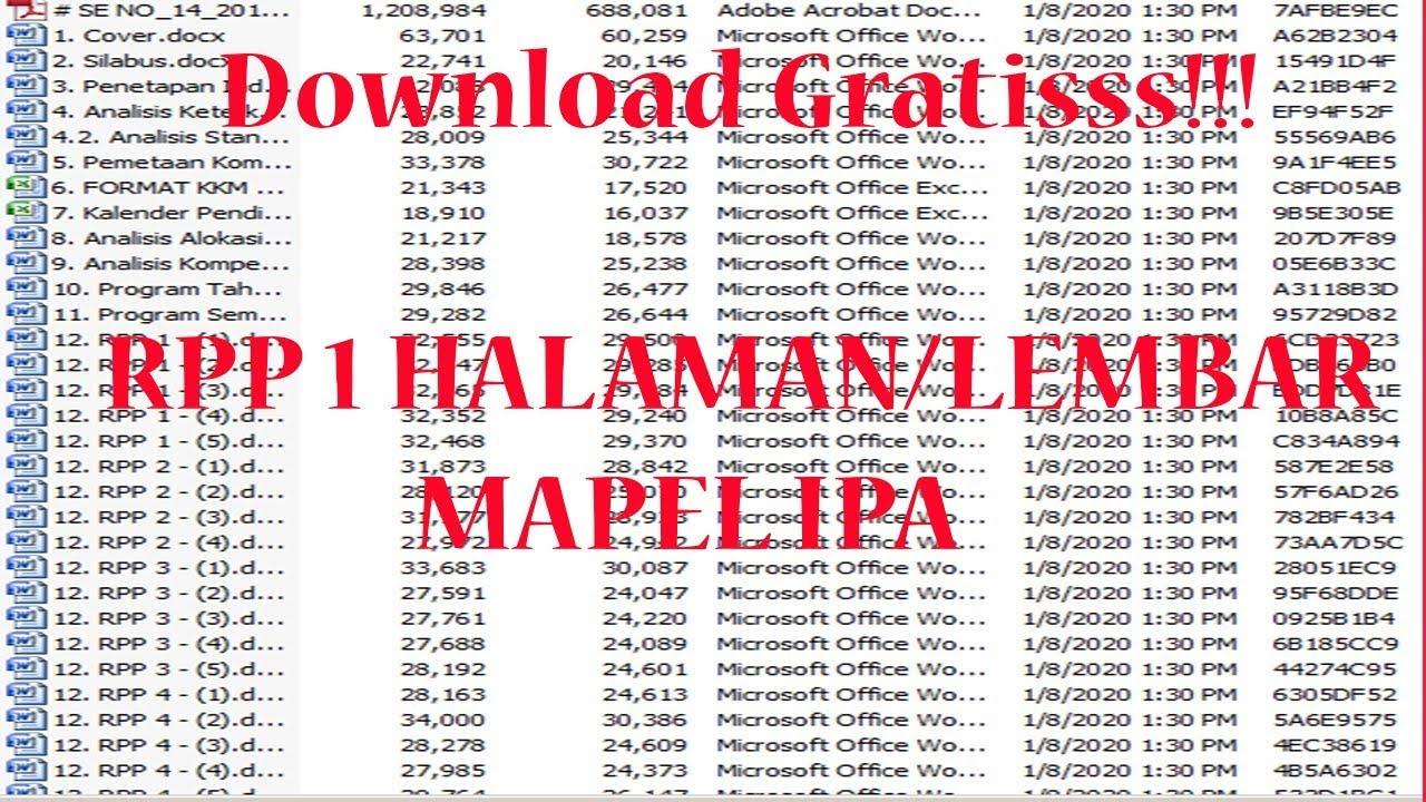 Download Rpp 1 Halaman Mapel Ipa Kelas 7 8 9 Lengkap Dan Gratis Youtube