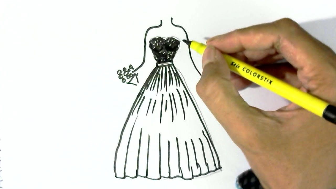 How To Draw A Dress 2 Easy Steps For Children Kids Beginners Youtube
