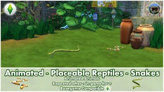 Bakies The Sims 4 Custom Content: Animated - Placeable Reptiles - Snakes 🐍
