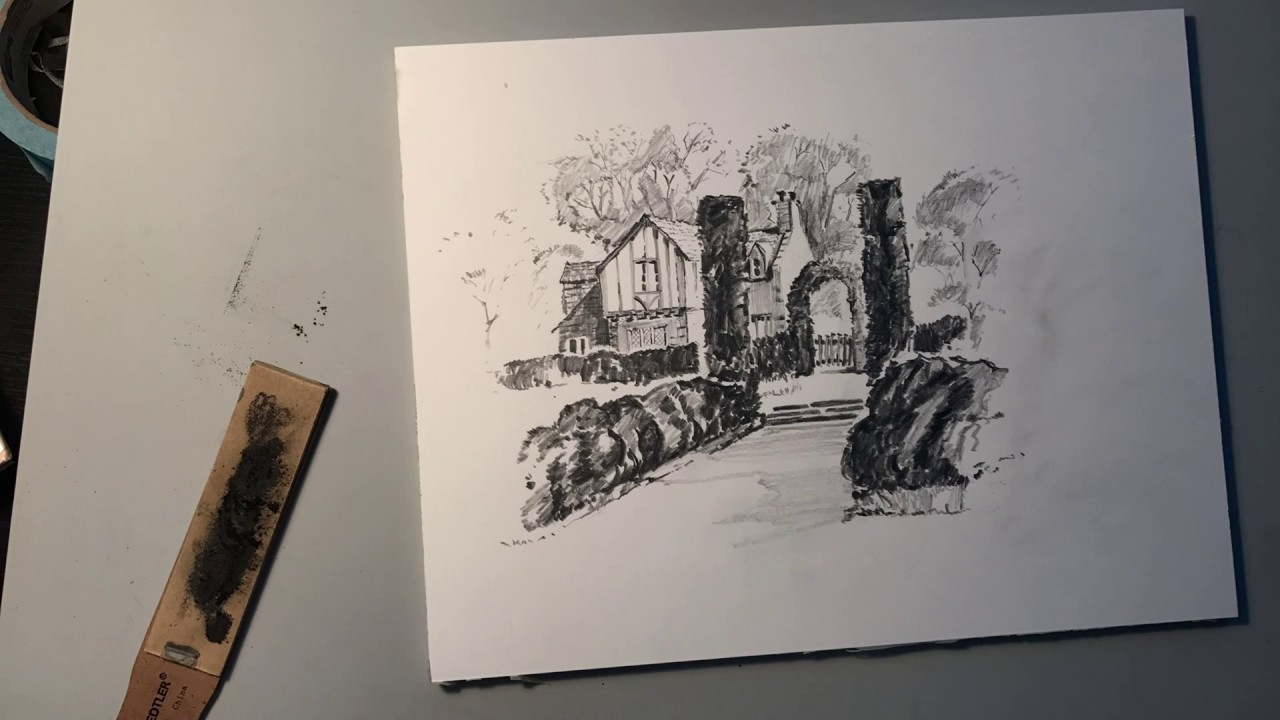 Country garden pencil drawing