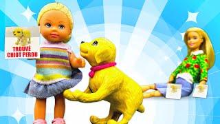Barbie et Evi ont trouvé un petit chiot. Vidéo de poupées pour enfants.