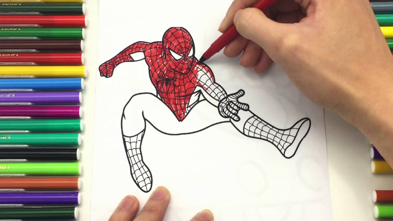 spiderman coloring pages for kids how to drawing color spiderman