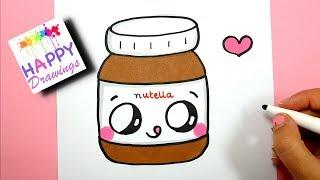 kawaii drawings draw easy nutella step jar paintingvalley