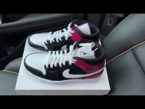 Air Jordan 1 Mid Black Noble Red womens sneakers
