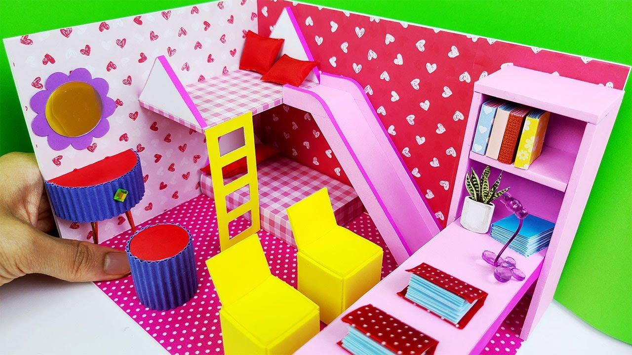 DIY Miniature Cardboard House Pink house bedroom