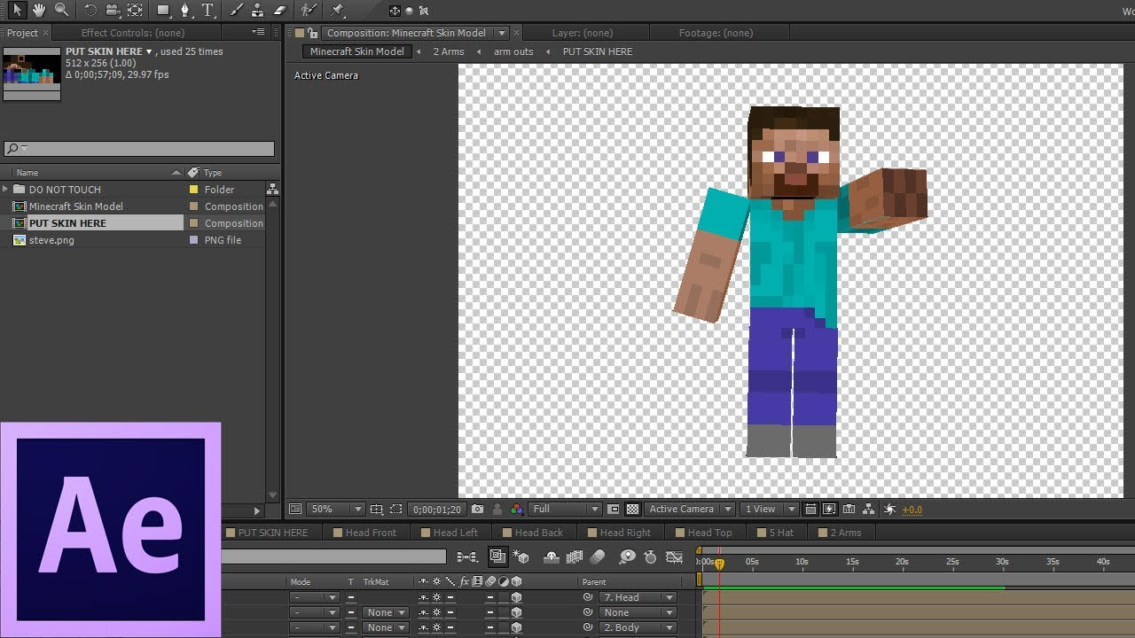 Animate your minecraft skin in after effects youtube animate your minecraft skin in after effects ccuart Images