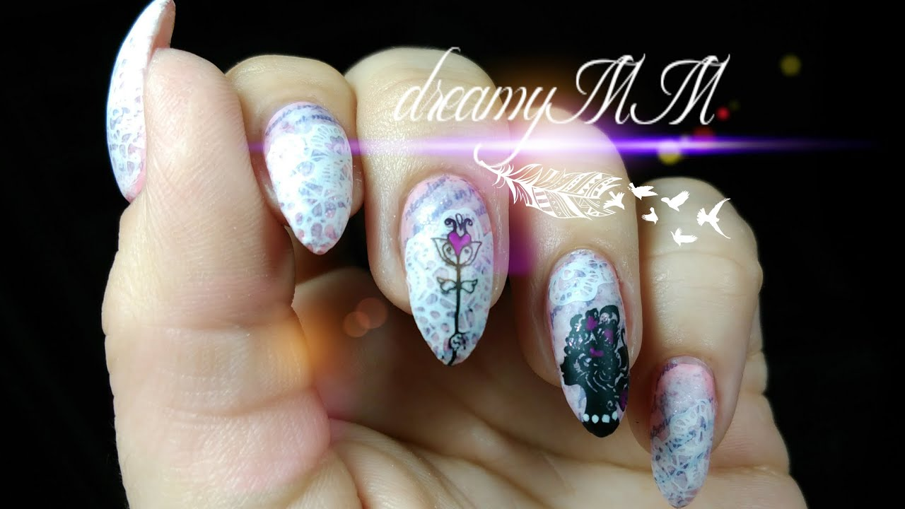 Shabby Chic Love Letters Valentine Stamping Nail Art - YouTube
