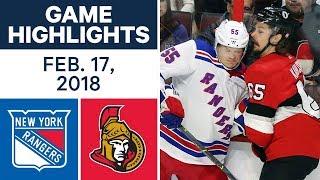 NHL Game Highlights   Rangers vs. Senators - Feb. 17, 2018