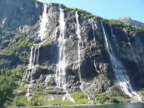Seven Sisters Waterfall Geirangerfjord Norway June 2009..MPG