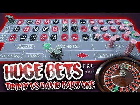 HUGE BETS!! LIVE ROULETTE BATTLE - Timmy Vs. David