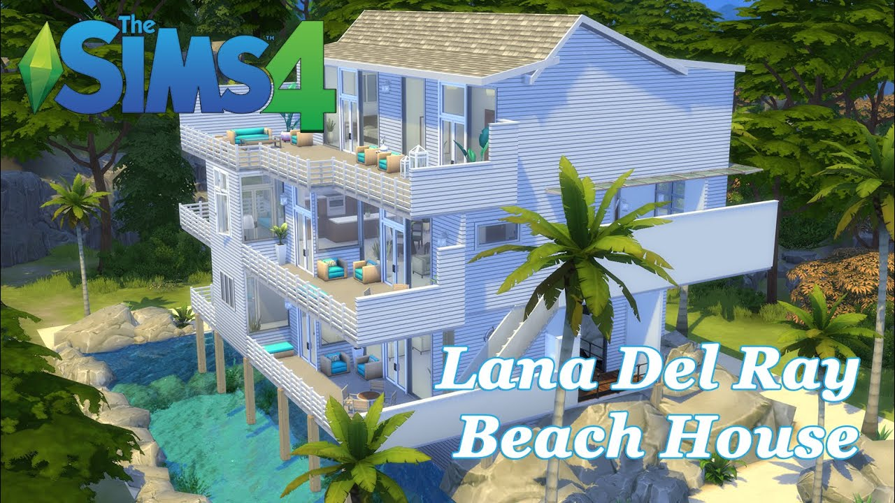 The sims 4 lana del rey beach house build cc youtube for Beach house 3 free download