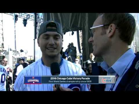 Len Kasper interviews Albert Almora at Cubs parade