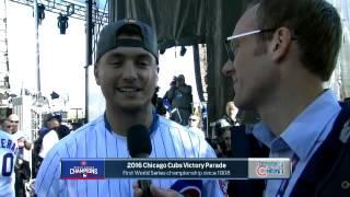 <b>Len Kasper</b> interviews Albert Almora at Cubs parade