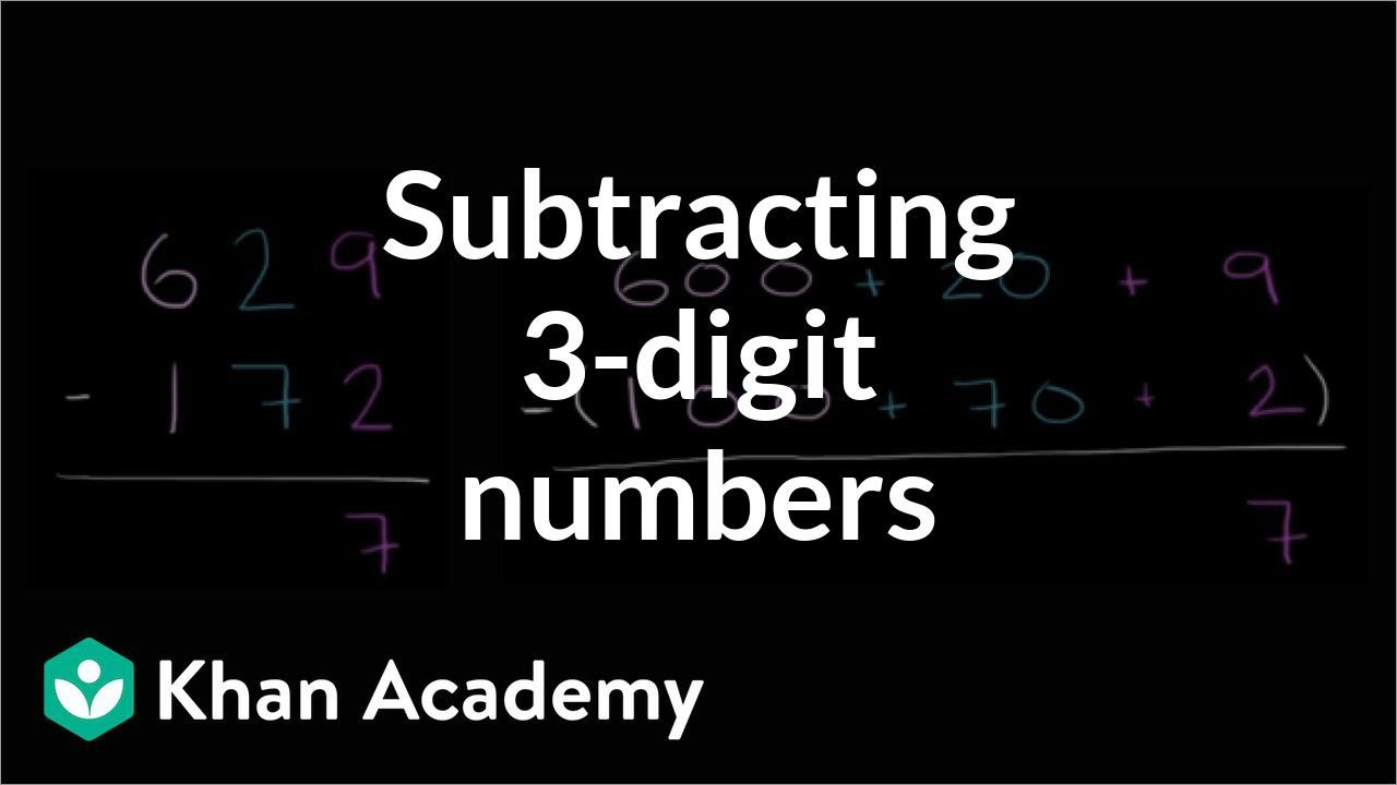 medium resolution of Subtracting 3-digit numbers (regrouping) (video)   Khan Academy