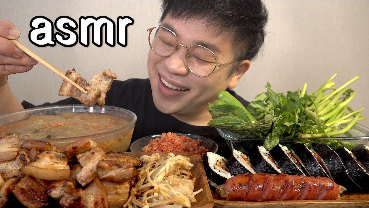 먹방창배tv 미나리삼겹살 대박 김치물냉면 맛사운드 레전드 pork belly samgyeopsal mukbang Legend koreanfood asmr