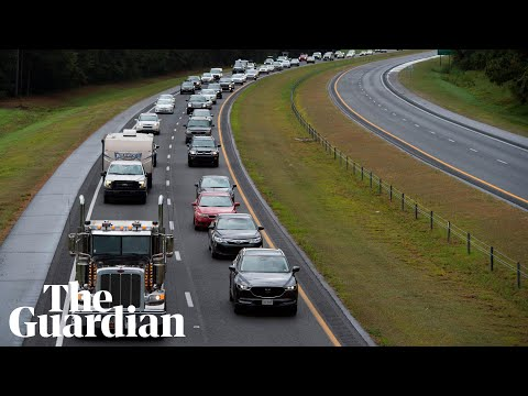 Drone footage shows motorists fleeing oncoming Hurricane Florence