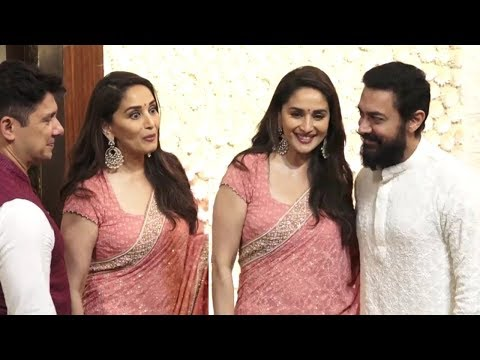 Amir Khan And Madhuri Dixit Candid Moments At Ambani Ganesh Chaturthi 2019