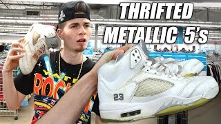 trip to the thrift 116   2 pairs of jordan metallic 5 s found real or nahhhh