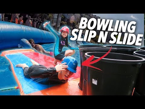 Download Youtube: HUMAN BOWLING SLIP AND SLIDE (Went Wrong) | Ranz and Niana