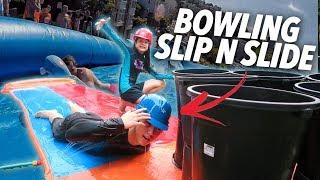 HUMAN BOWLING SLIP AND SLIDE (Went Wrong) | Ranz and Niana