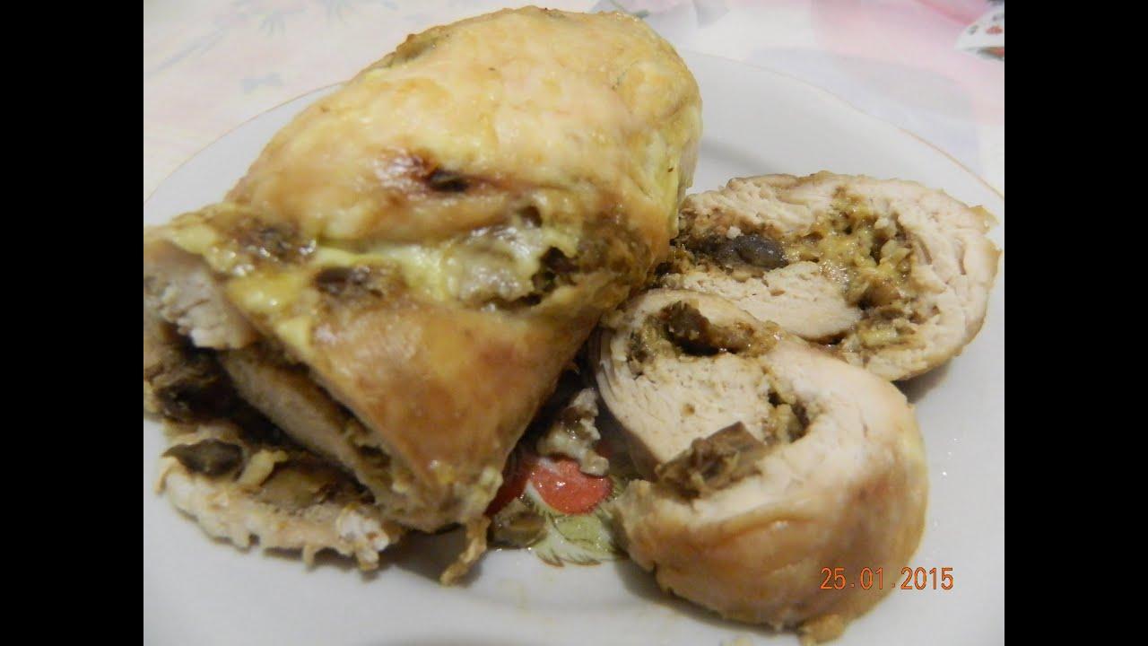 Мясной рулет с грибами, орехами и сыром.  Готовим в духовке.