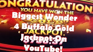 *Never Seen ON YouTube 3 Super Free Bonuses In A Row Caught Live*Huge Buffalo Gold Wonder 4 Jackpot*