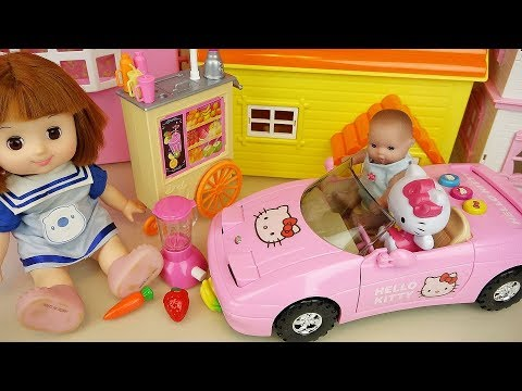 Baby doll juice maker and Hello Kitty car toys | Baby Doli play