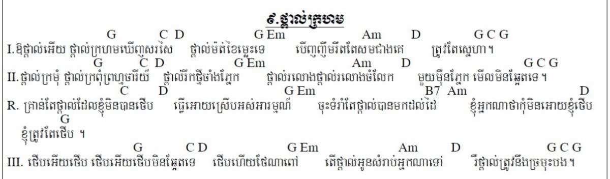 Thapal Krohom by Sin Si Samouth Guitar Song chords Khmer Chords ...