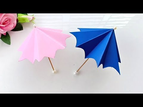 How to make a paper Umbrella that open and close//Very Easy
