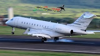 Bombardier Challenger 300,Learjet 60,Bombardier Global 5000 action @ St Kitts (HD 1080p)